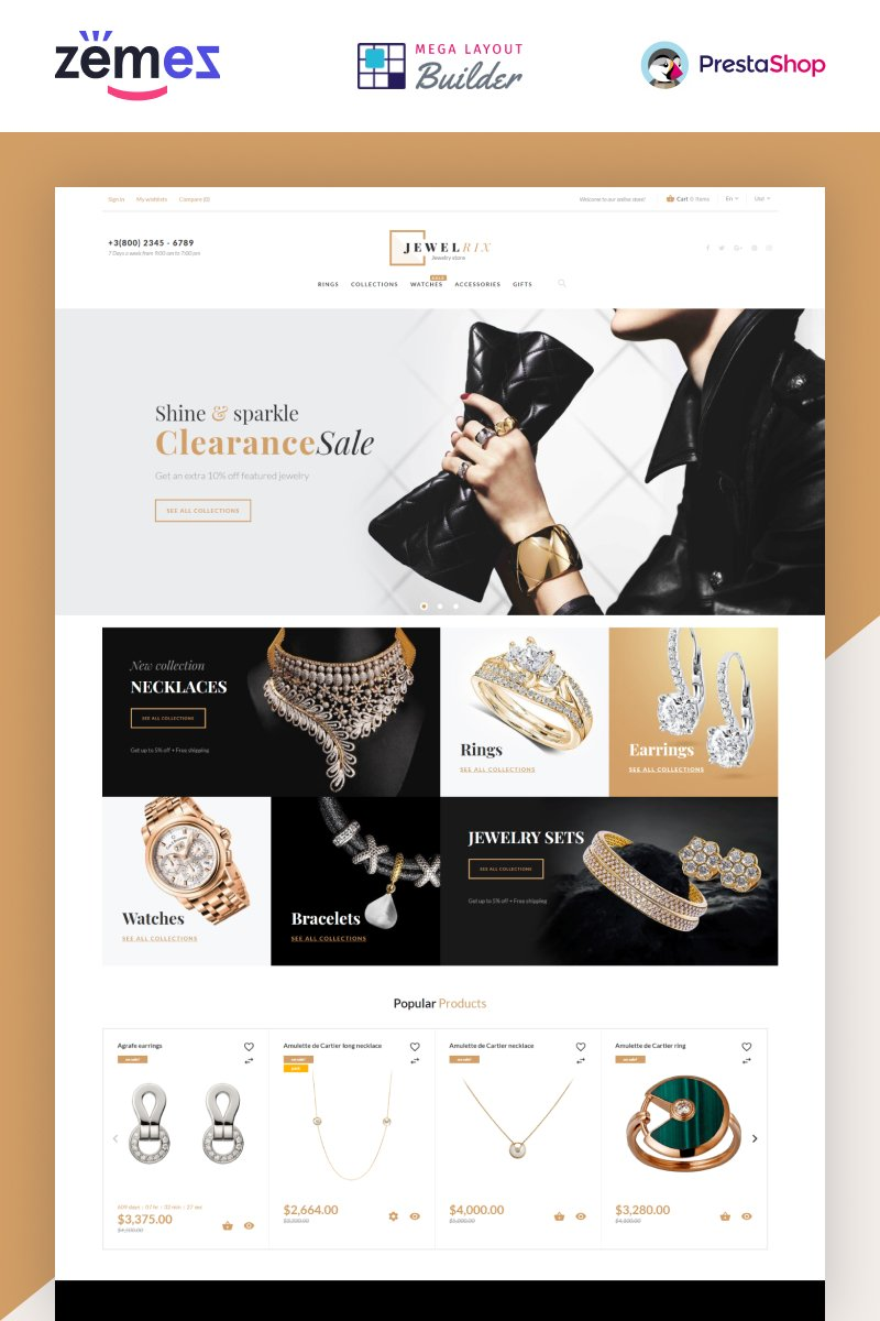 """Jewelrix - Jewelry Store Website Template"" - адаптивний PrestaShop шаблон №62447"