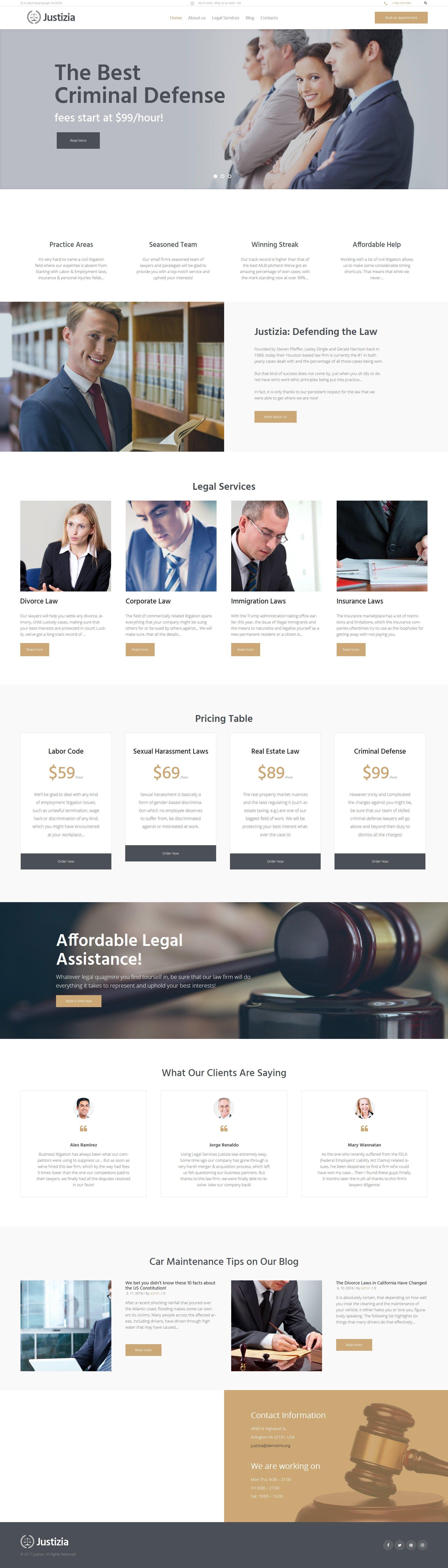 Justizia - Lawyer Services Responsive Tema WordPress №62440 - captura de tela