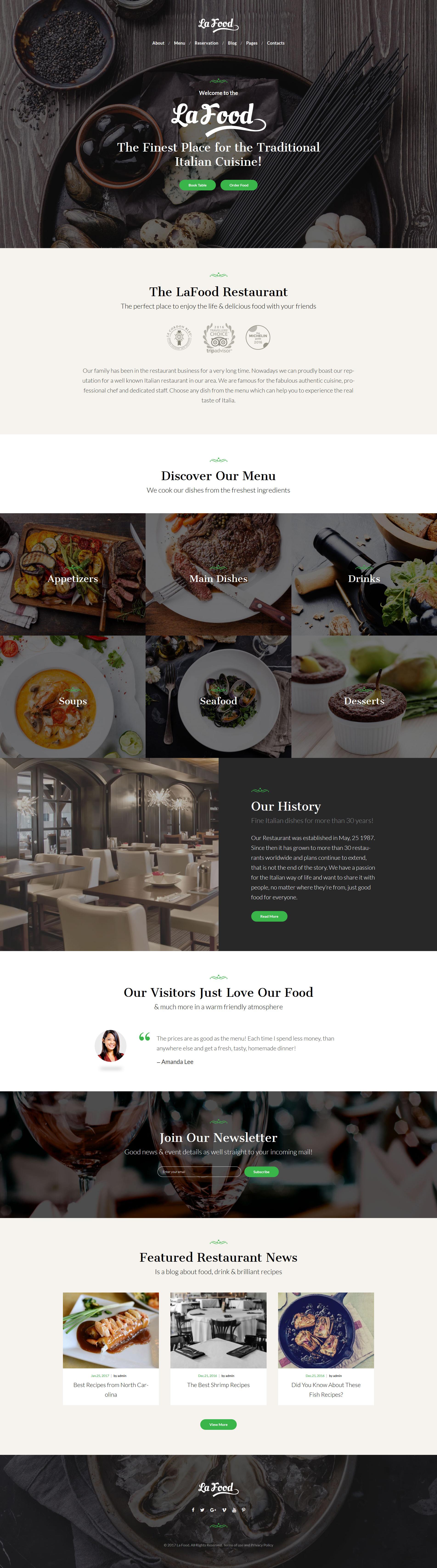 """La Food - Italian Restaurant Responsive"" 响应式WordPress模板 #62451"