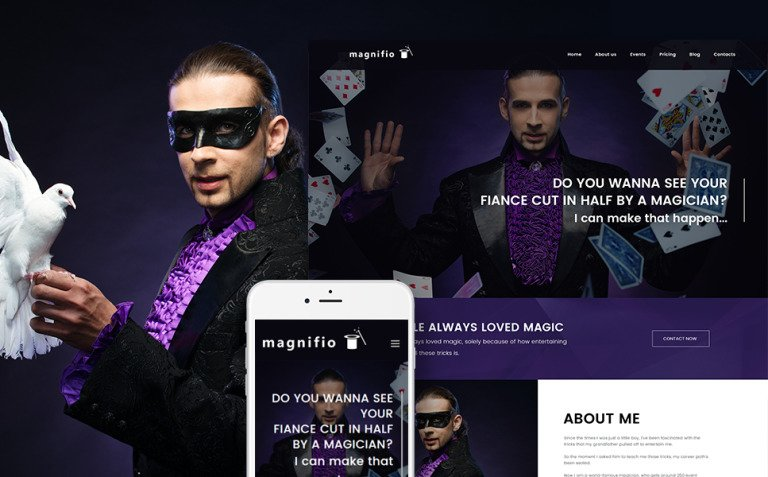 Magician Artist & Performer WordPress Theme New Screenshots BIG