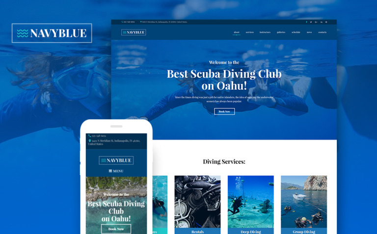 NavyBlue - Scuba Diving Club Responsive WordPress Theme New Screenshots BIG