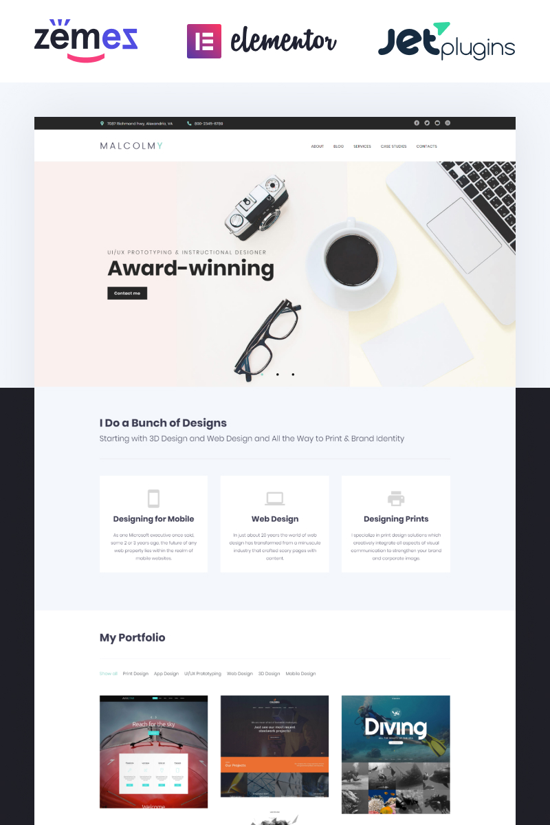 """Personal Web Designer Portfolio"" - адаптивний WordPress шаблон №62455 - скріншот"