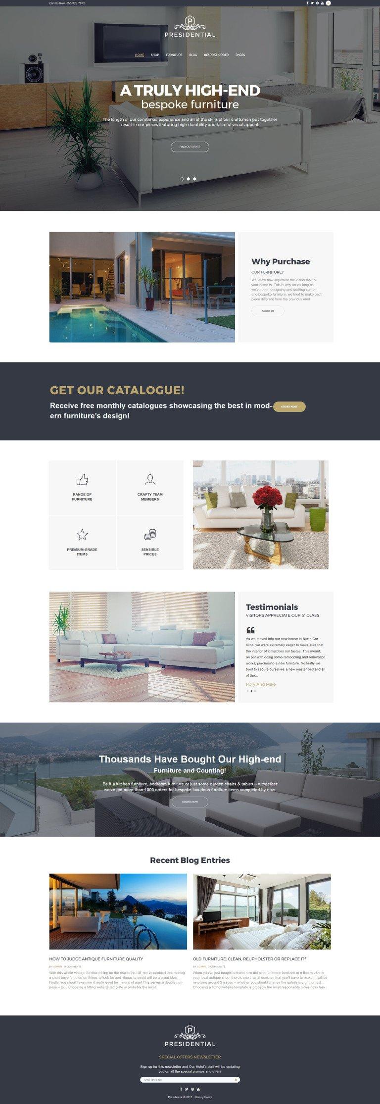 Presidential - Home Decor & Furniture WordPress Theme New Screenshots BIG
