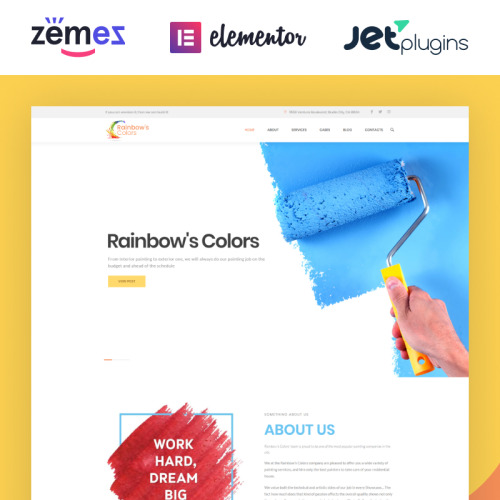 Rainbow Colors  - Responsive WordPress Template