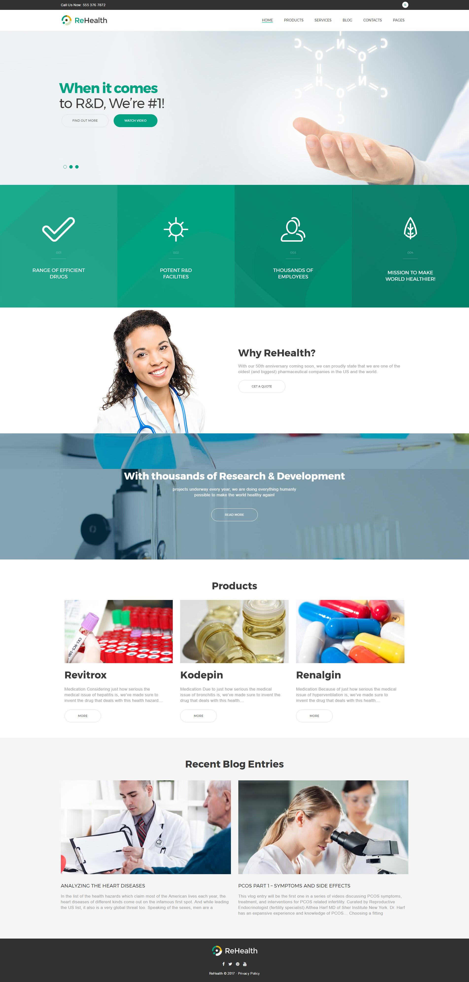"""ReHealth - Medical & Drug Store"" - адаптивний WordPress шаблон №62499"