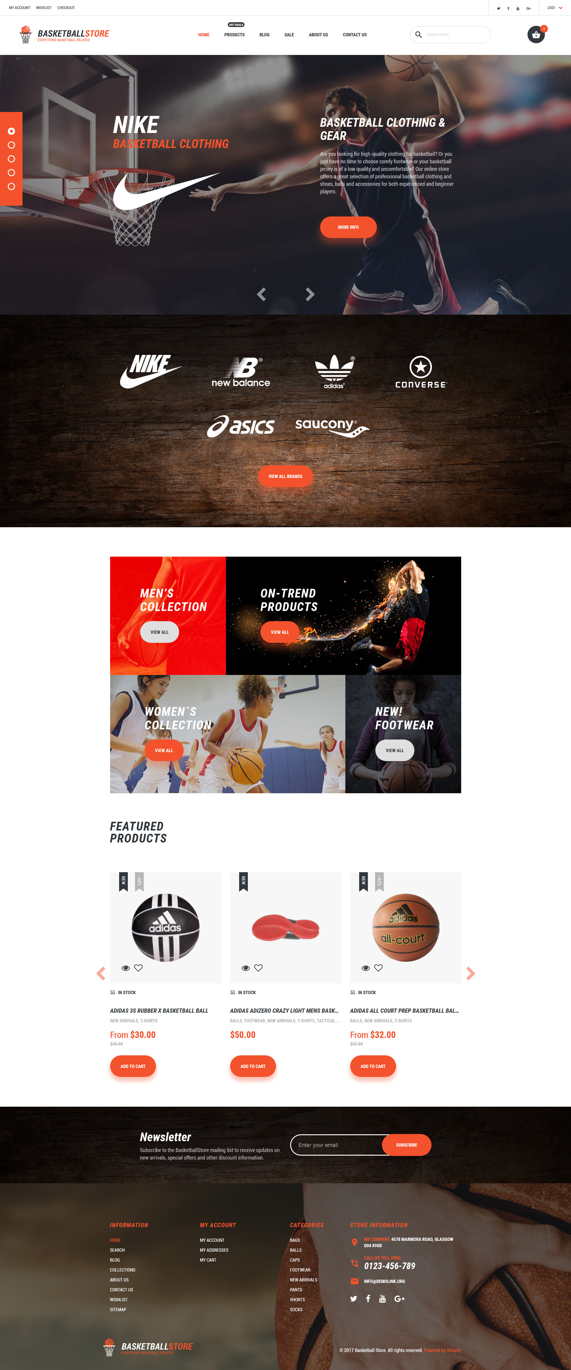 Responsive Shopify Thema over Basketball №62457