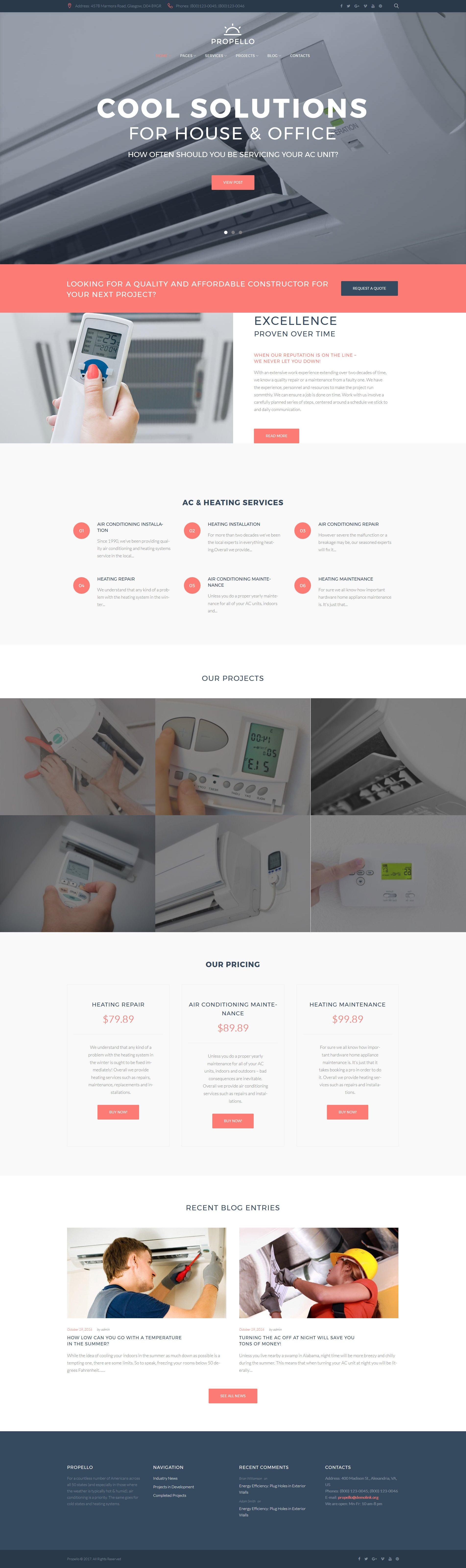 Responsivt Propello - Air Conditioning Maintenance WordPress-tema #62487