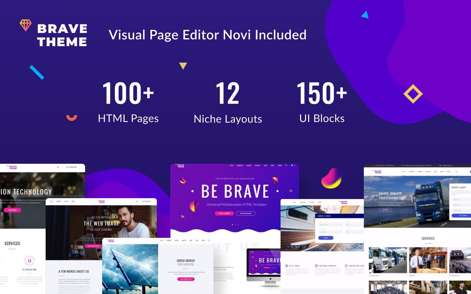 """Responzivní Šablona webových stránek """"Brave Theme - Multipurpose HTML Website Template"""" #62466"""