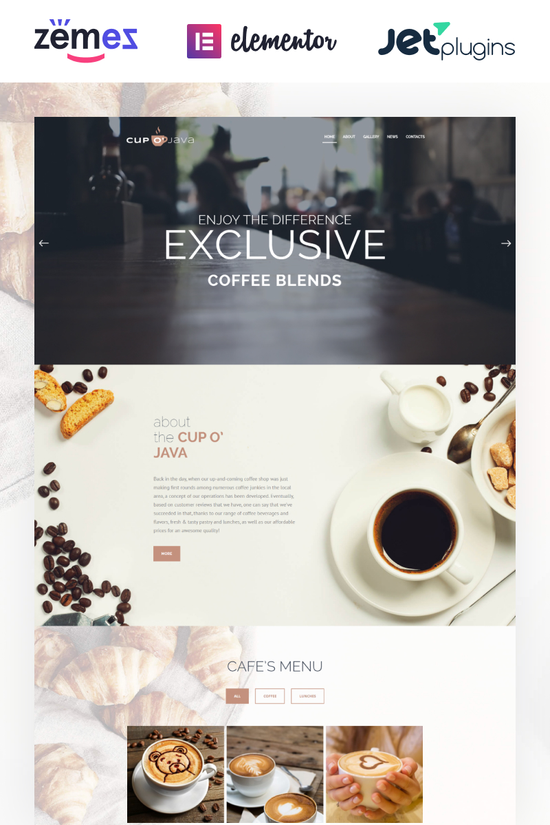Reszponzív Cup o' Java - Coffee Shop Responsive WordPress sablon 62476 - képernyőkép