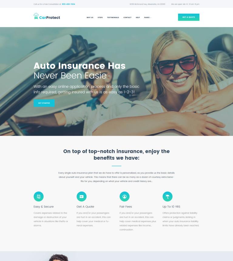 Tema de WordPress #62490 para Sitio de Seguros de coches