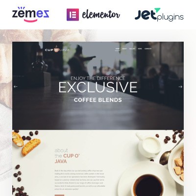 Tema de WordPress #62476 para Sitio de Tienda de Café