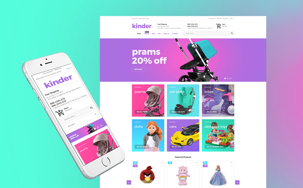"Tema Shopify Responsive #62403 ""Kinder - Toy Store"""