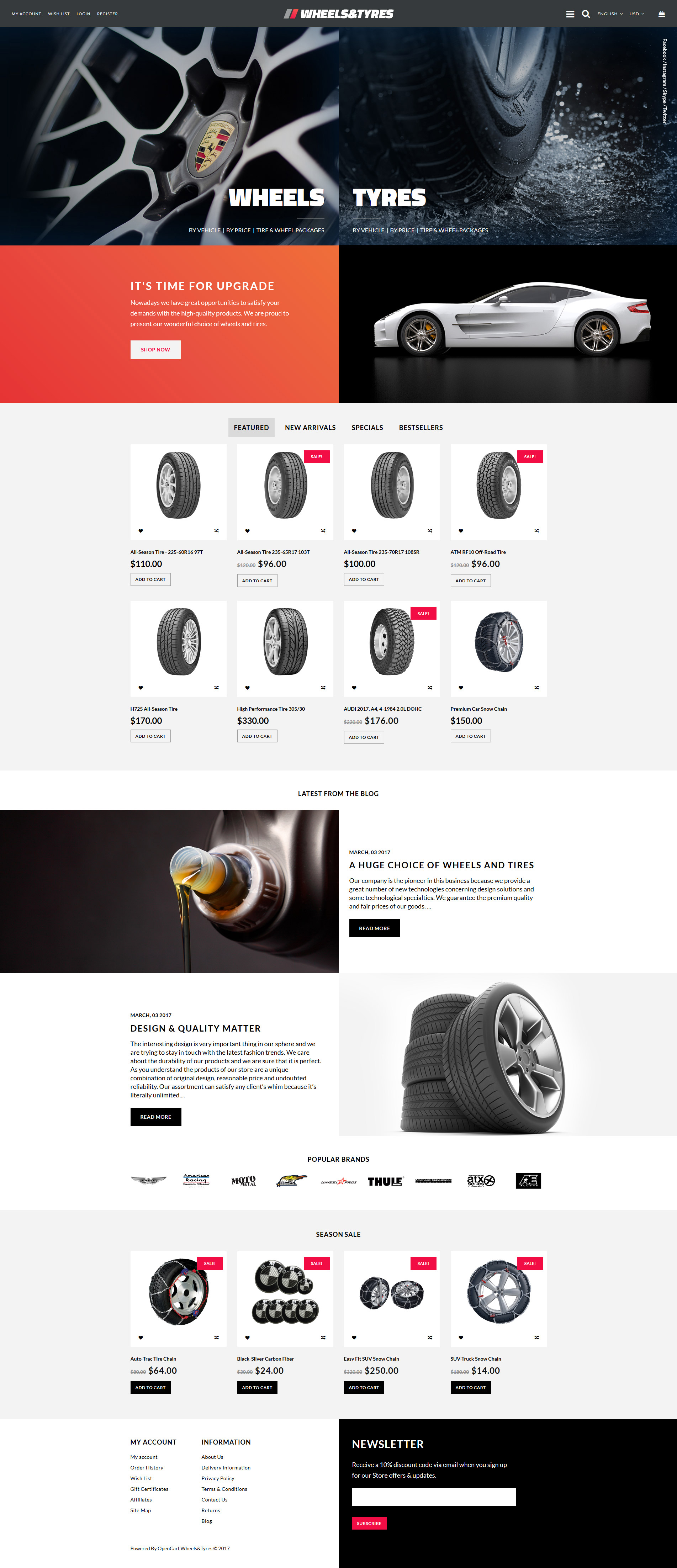 Wheels & Tyres OpenCart Template - screenshot