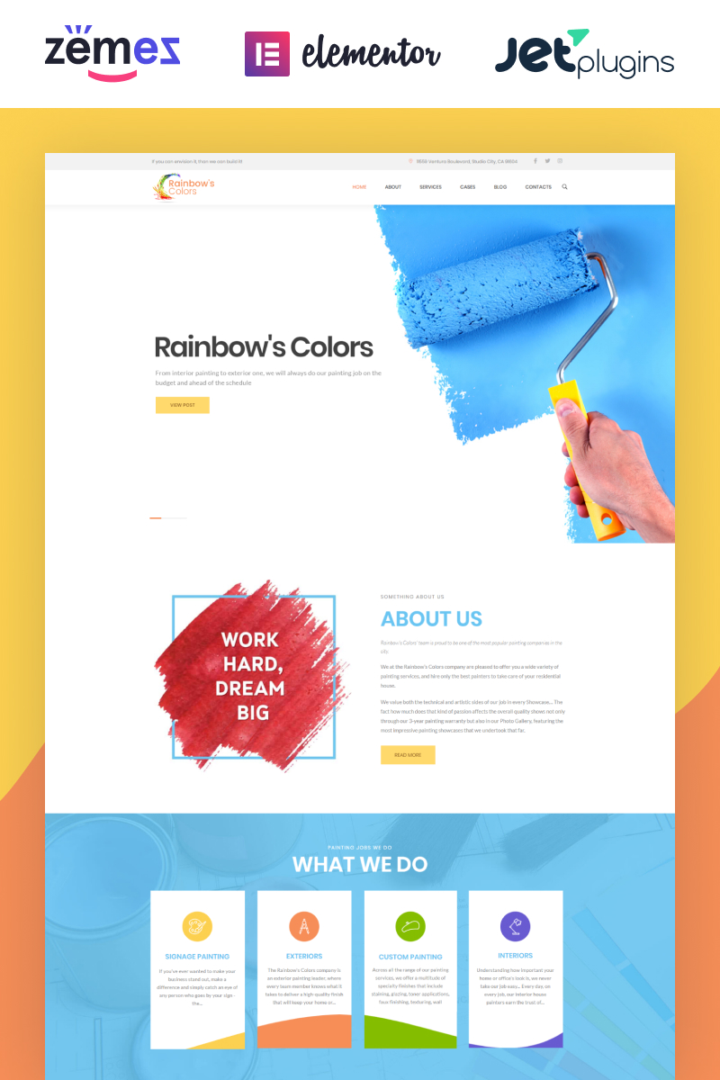 "WordPress Theme namens ""Rainbow's Colors - Malerbetrieb"" #62453"