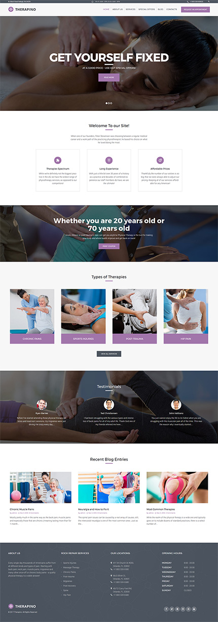 Therapino - Physical Therapy WordPress Theme | Website Templates