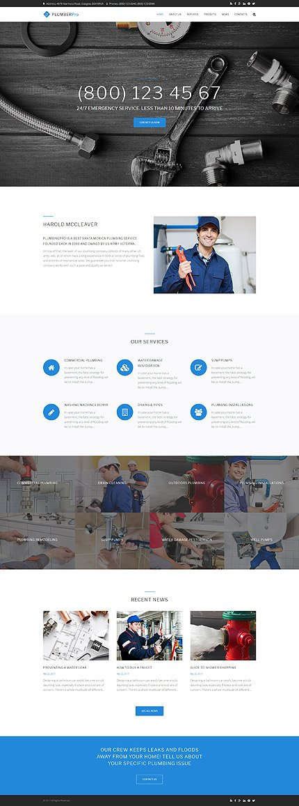 Website Design Template 62503 - conditioning constructions service plumber handyman house repair maintenance