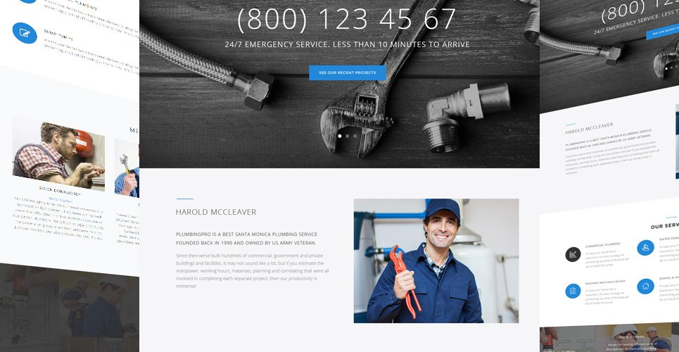 Website Design Template 62503 - plumber handyman house repair maintenance