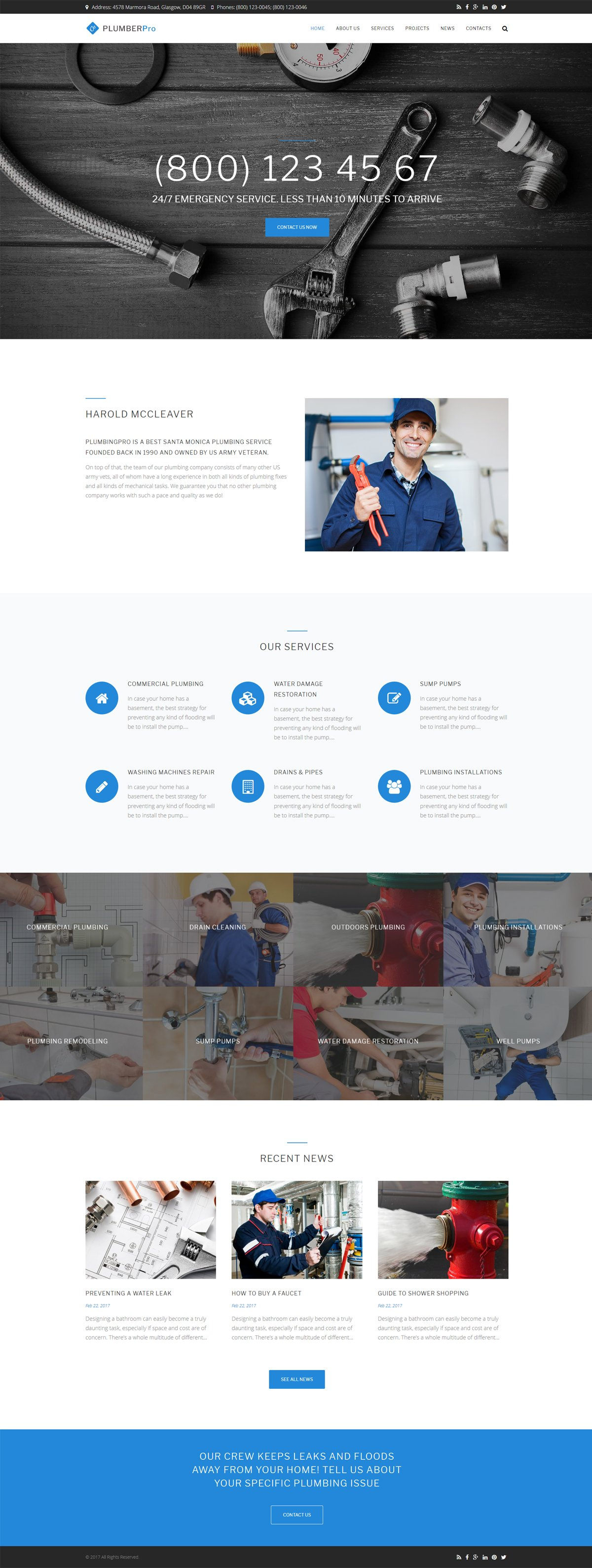 Website Design Template 62503 - air conditioning constructions service plumber handyman house repair maintenance