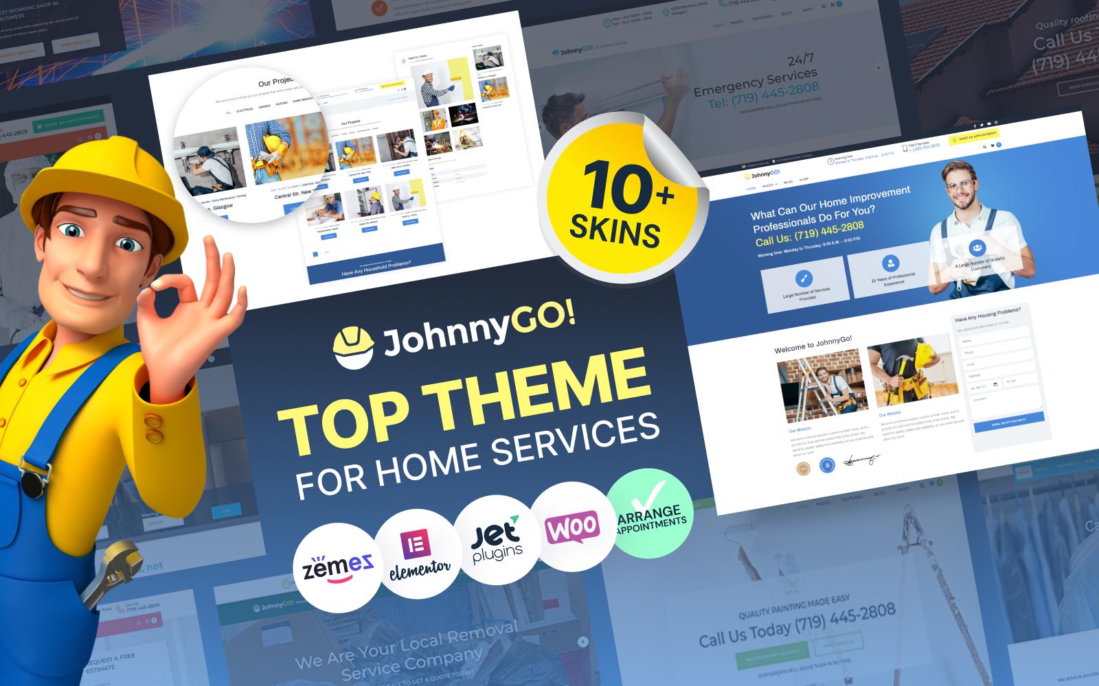 JohnnyGo - Multipurpose Home Services WordPress Theme Tema WordPress №62555