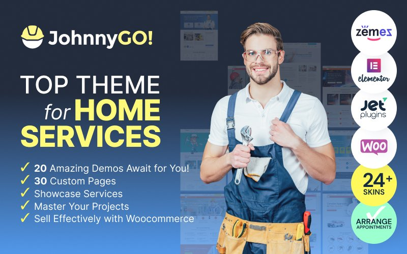 """JohnnyGo - Multipurpose Home Services"" 响应式WordPress模板 #62555"