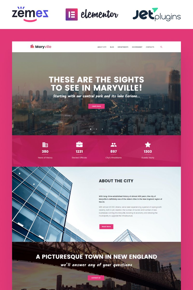 "Template WordPress Responsive #62500 ""Maryville - City Portal & City Guide"""