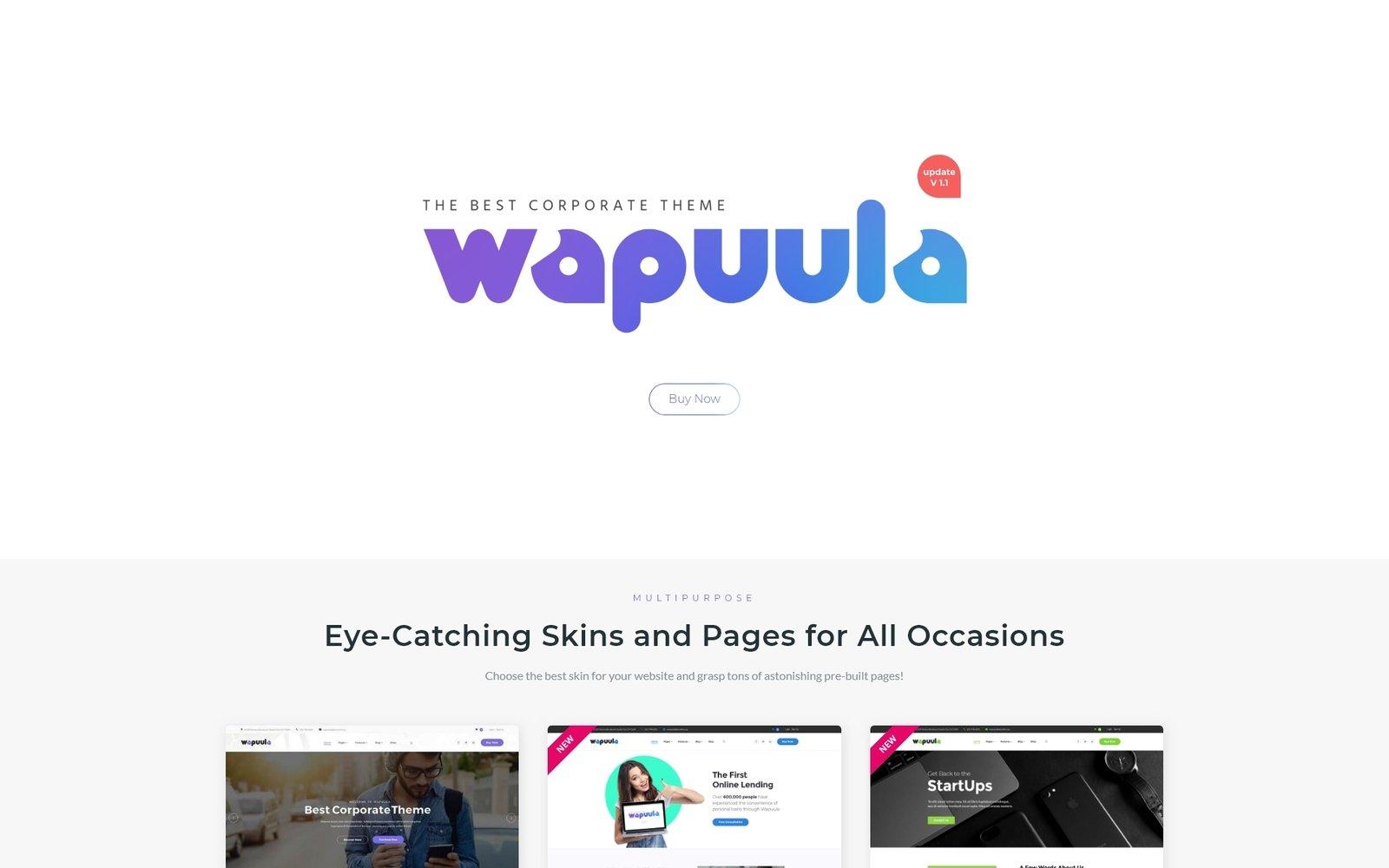 """Wapuula - Multipurpose Corporate WordPress Theme"" - адаптивний WordPress шаблон №62666 - скріншот"