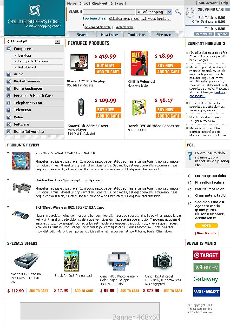 Tema siti web per un sito di negozio di elettronica for Siti web di home plan
