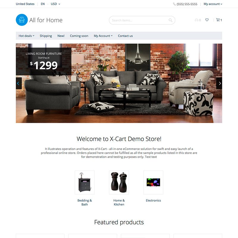 """All for Home"" Responsive X-Cart Template №63355 - screenshot"