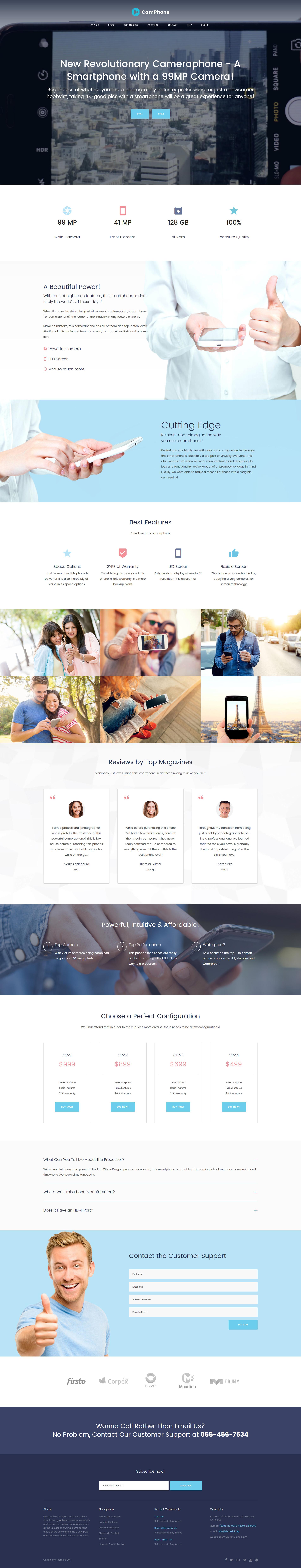 """CamPhone - Page d'Accueil Adaptative Smartphone"" thème WordPress adaptatif #63380"