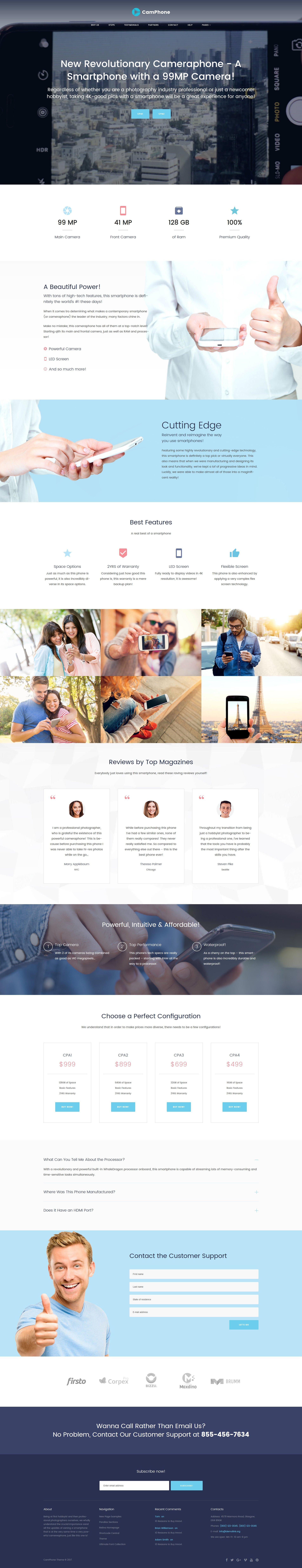 """CamPhone - Smartphone Responsive One Page"" Responsive WordPress thema №63380"
