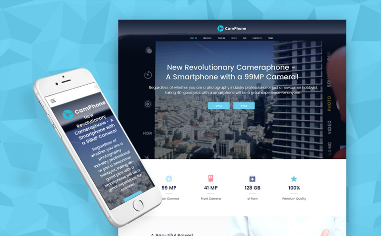 CamPhone - Smartphone Responsive One Page WordPress Theme New Screenshots BIG