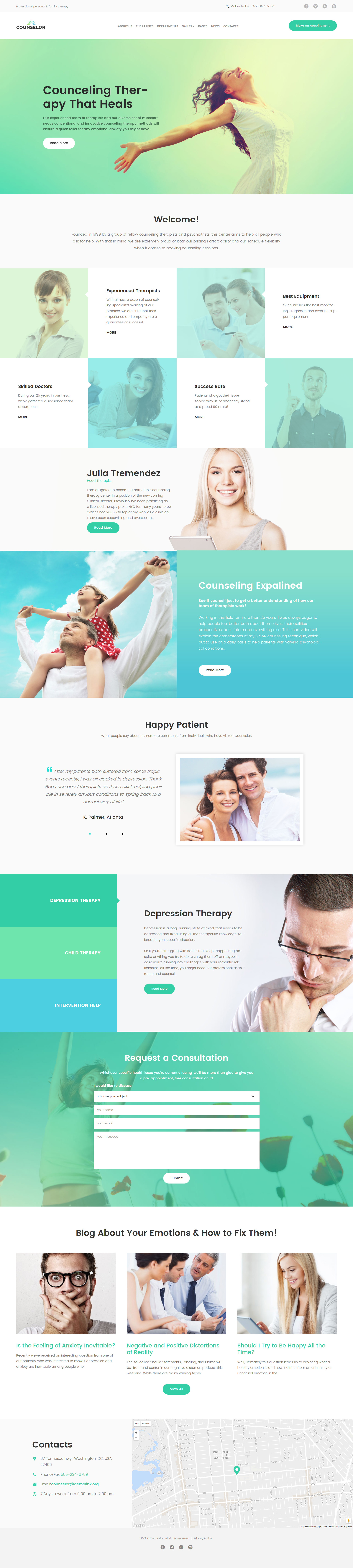 """""""Counselor - Counseling Therapy Center Responsive"""" Responsive WordPress thema №63388"""
