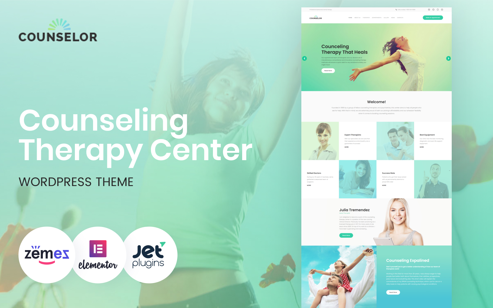 """""""Counselor - Counseling Therapy Center Responsive WordPress Theme"""" Responsive WordPress thema №63388"""