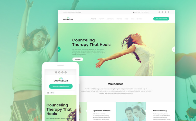 Counselor - Counseling Therapy Center Responsive WordPress Theme New Screenshots BIG