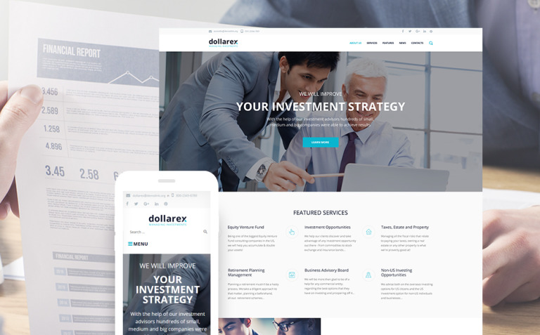 Dollarex - Investment Company & Finance WordPress Theme New Screenshots BIG