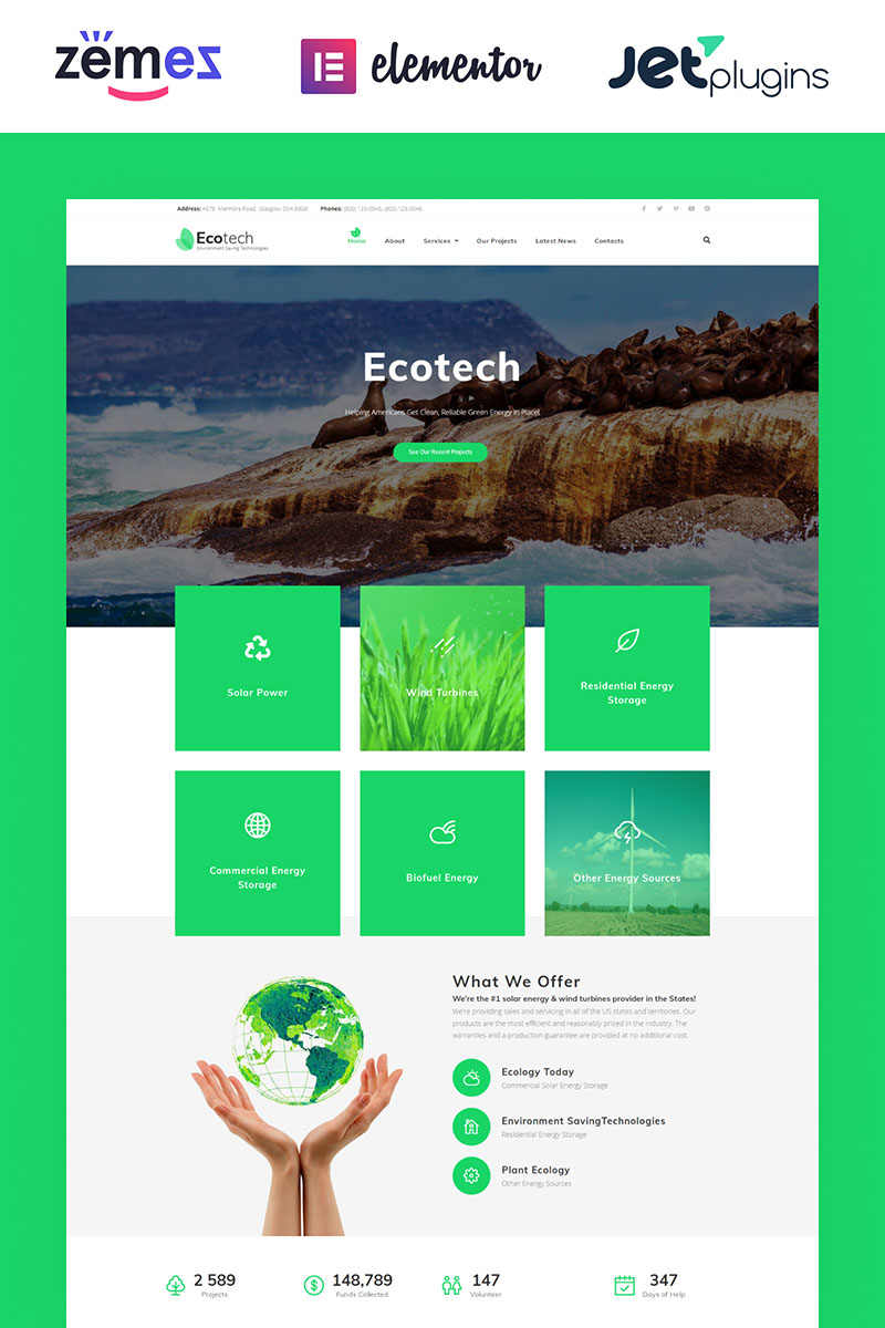 """EcoTech - Environment Saving Technologies Elementor"" - адаптивний WordPress шаблон №63381"
