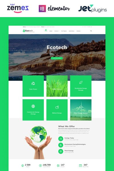 """EcoTech - Environment Saving Technologies"" Responsive WordPress thema #63381"