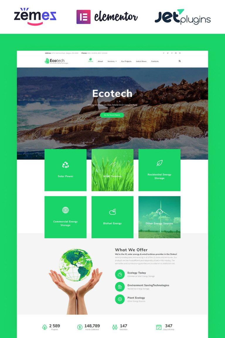 EcoTech - Environment Saving Technologies WordPress Theme New Screenshots BIG