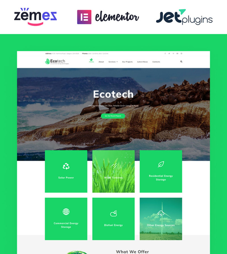 EcoTech - Environment Saving Technologies WordPress Theme