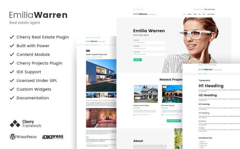 Emilia Warren - Real Estate WordPress Theme New Screenshots BIG