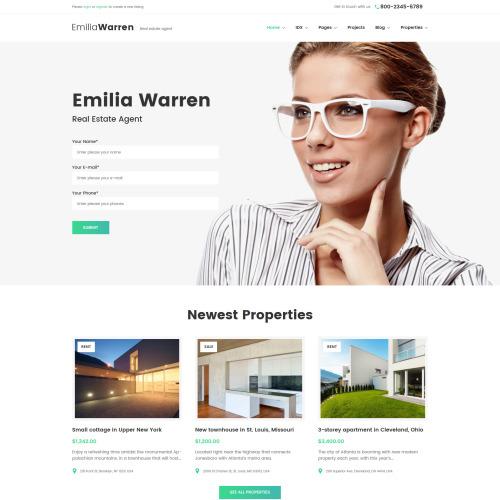 Emilia Warren - HTML5 WordPress Template