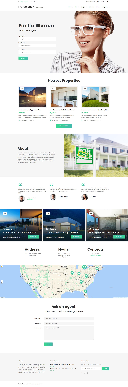 """""""Emilia Warren - Real Estate"""" 响应式WordPress模板 #63386 - 截图"""
