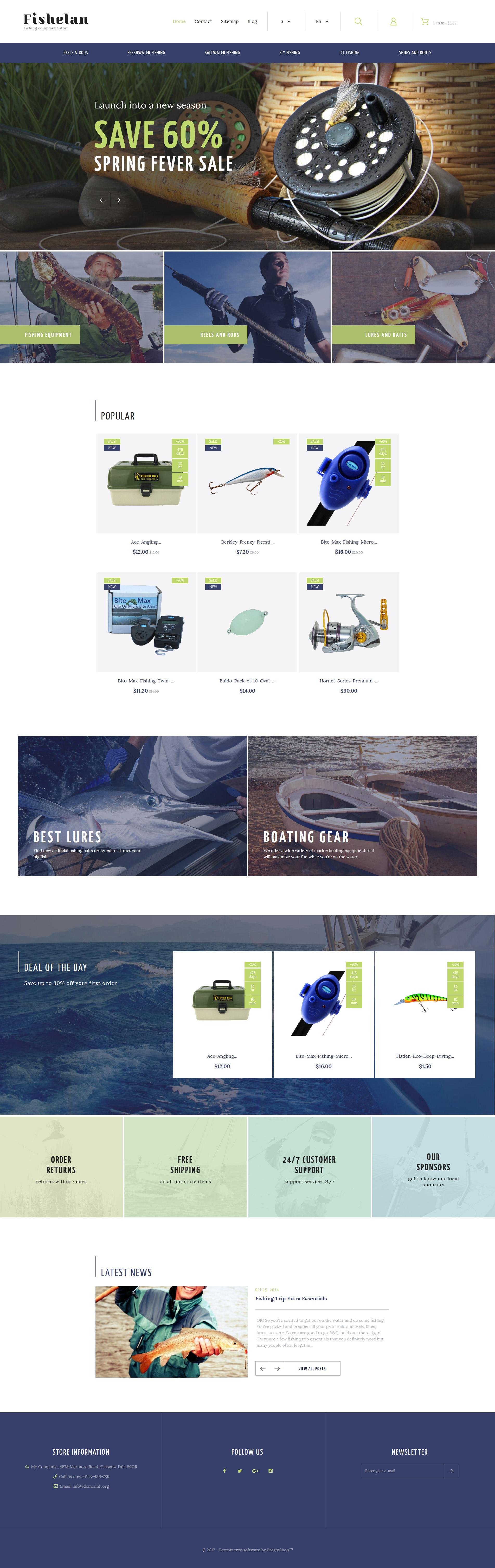 Fishelan - Fishing Equipment Tema PrestaShop №63358