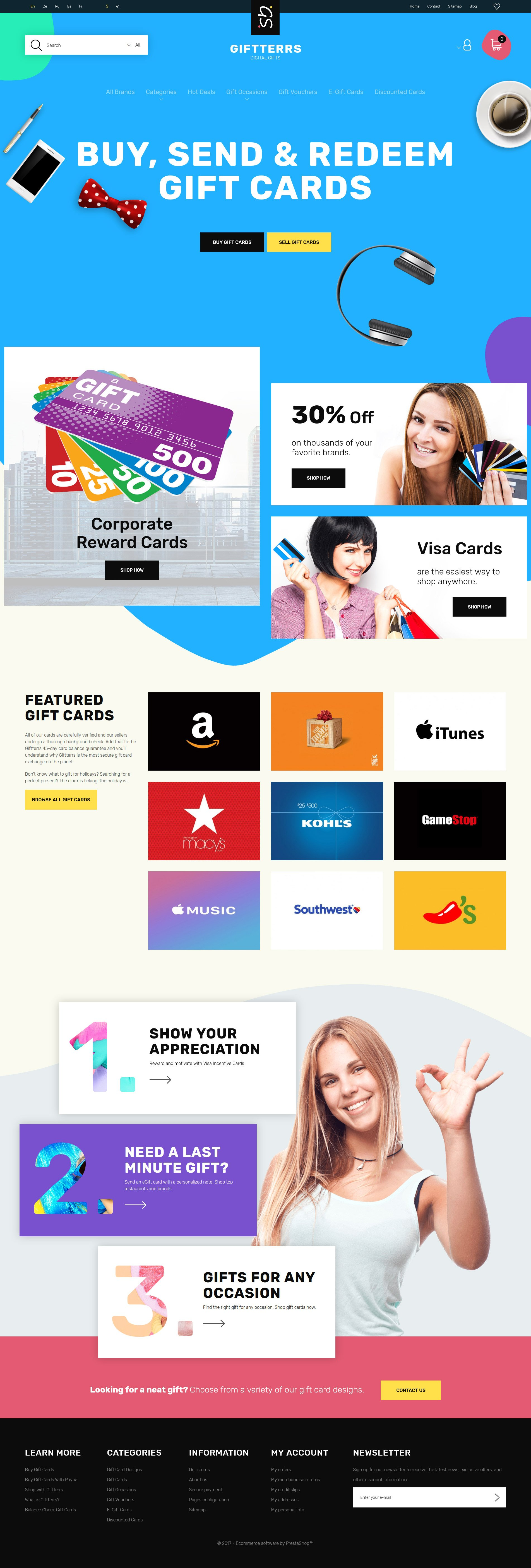 """Giftterrs - Gift Cards for Any Purpose"" 响应式PrestaShop模板 #63340"