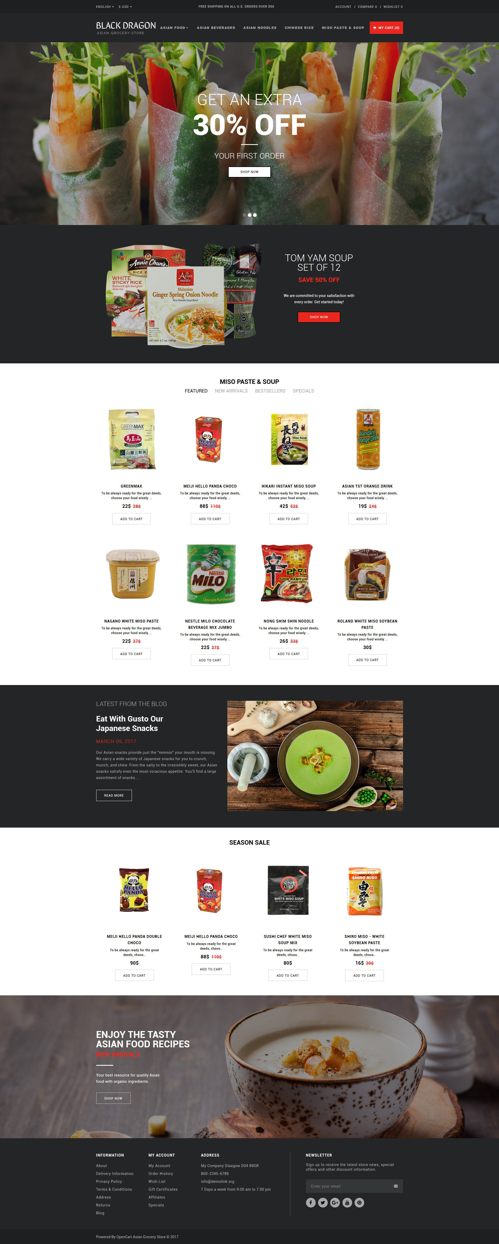 grocery store responsive opencart template 63347