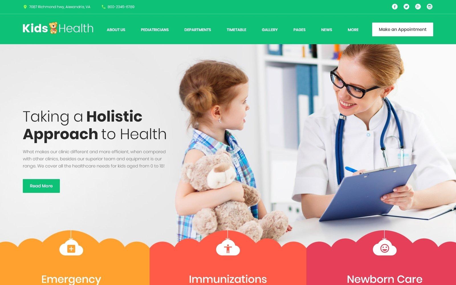 """KidsHealth - Kids Clinic"" - адаптивний WordPress шаблон №63374"