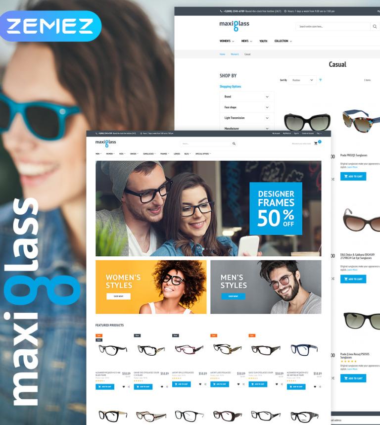 de76a5063ba MaxiGlass - Optometric Store Magento Theme New Screenshots BIG