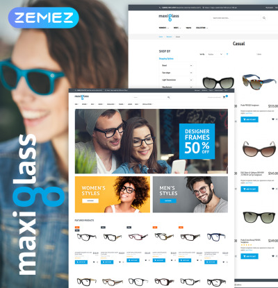Thème Magento adaptatif  pour boutique de lunettes
