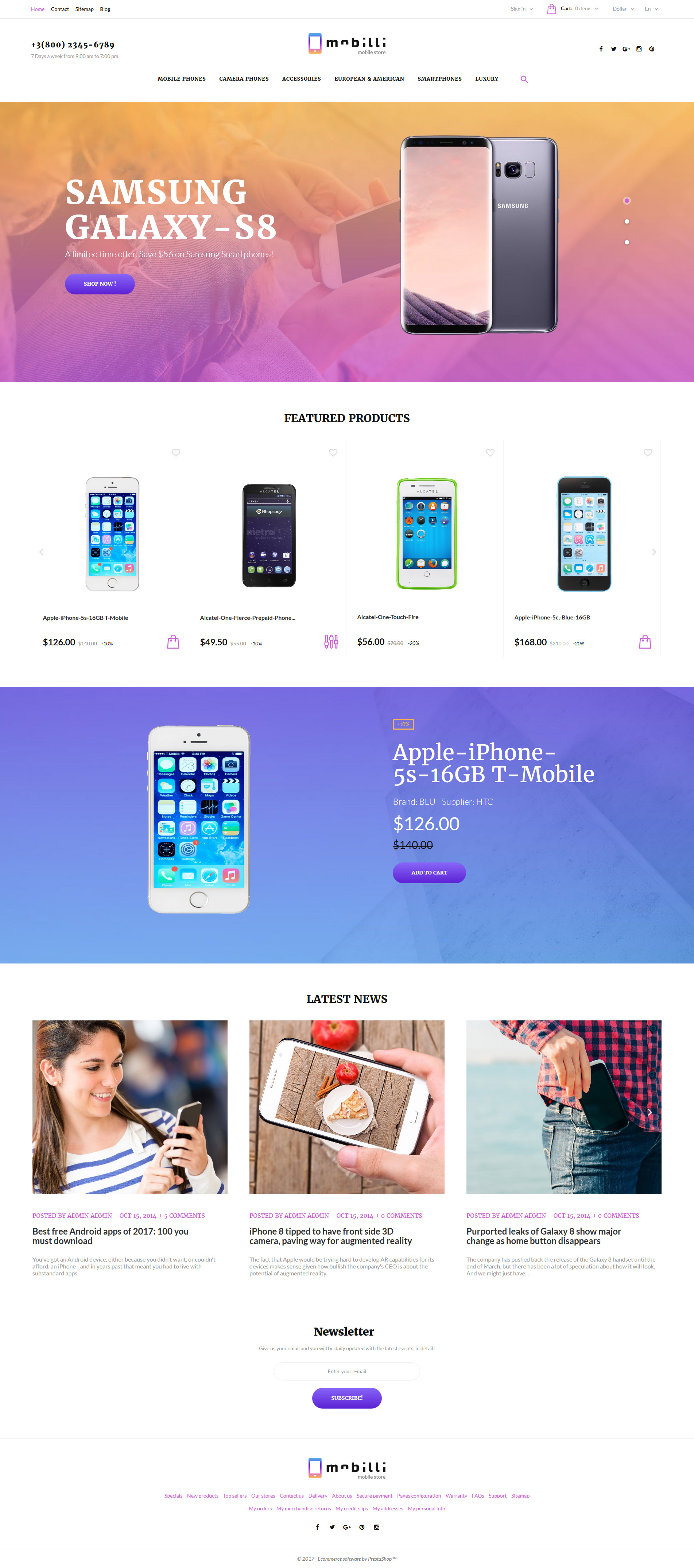 """Mobilli - Mobile Phones & Accessories"" 响应式PrestaShop模板 #63335 - 截图"