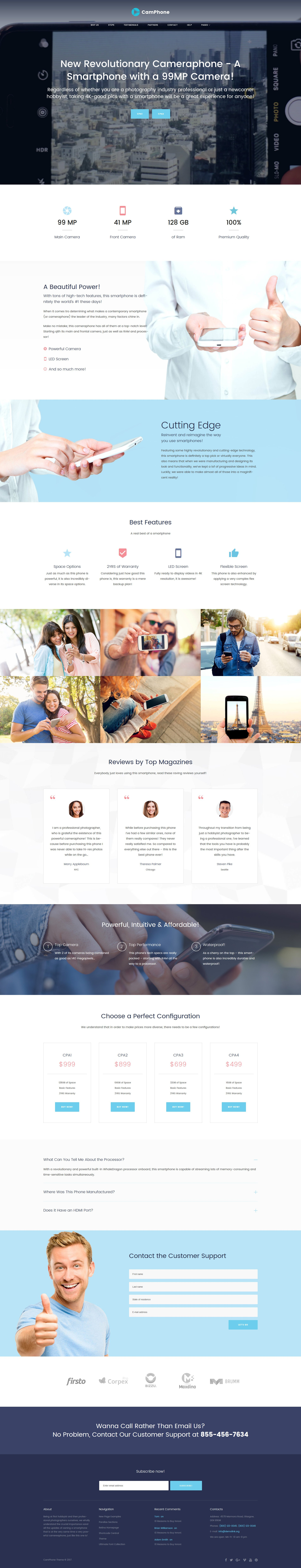 "Modello WordPress Responsive #63380 ""CamPhone - Smartphone Responsive One Page"""